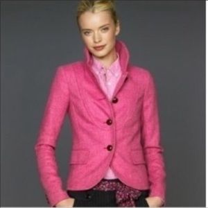 J Crew   Pink Bella Herringbone Wool Blazer size 4